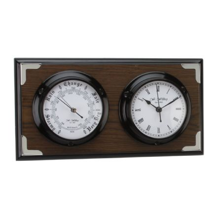 Dark Wood Effect Barometer & Clock with White Roman Dial